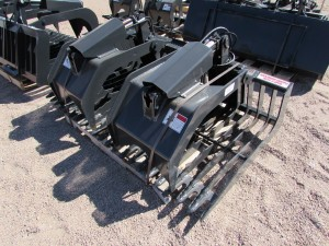 Unused Stout Rock Bucket/Brush Grapple Combo HD72-3 Open-End w/ skid steer quick attach